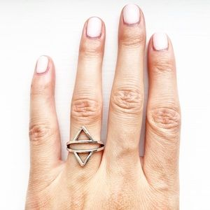 Tarnished silver geometric triangle ring